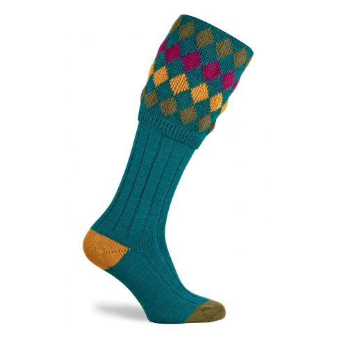 Ladies Charlton Shooting Socks - Turquoise