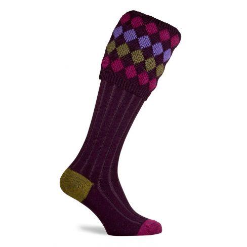 Ladies Charlton Shooting Socks - Plum