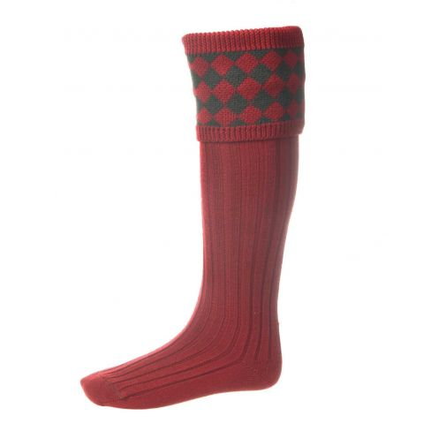 Chessboard Top Shooting Socks - Brick Red with Garters