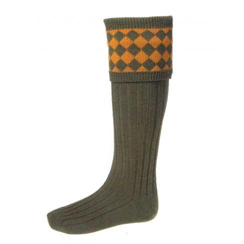 Chessboard Top Shooting Socks - Bracken with Garters