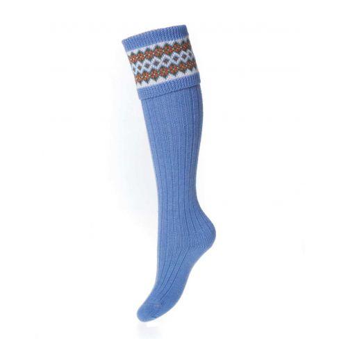 Ladies Fairisle Shooting Socks - Bluebell