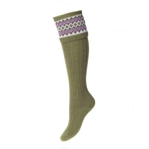 Ladies Fairisle Shooting Socks - Moss