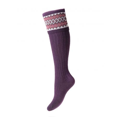 Ladies Fairisle Shooting Socks - Thistle