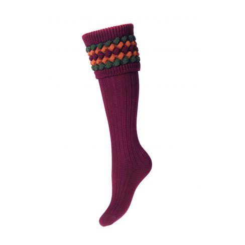 Ladies Lady Angus Shooting Socks - Burgundy