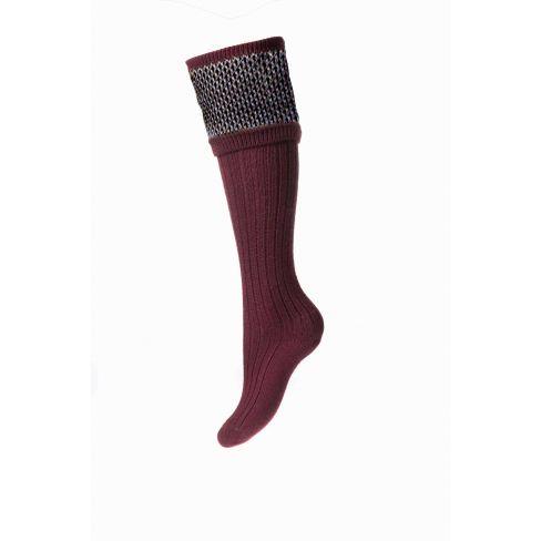 Ladies Tayside Shooting Socks and Garters - Burgundy
