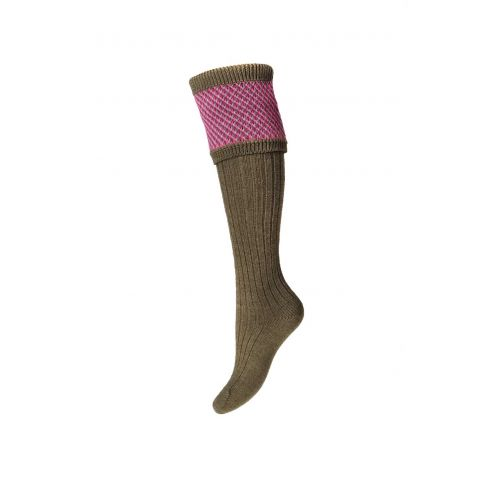 Ladies Tayside Shooting Socks and Garters Dark Olive