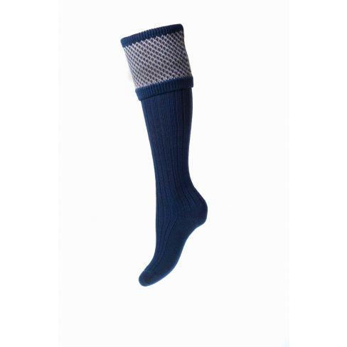 Ladies Tayside Shooting Socks and Garters - Navy
