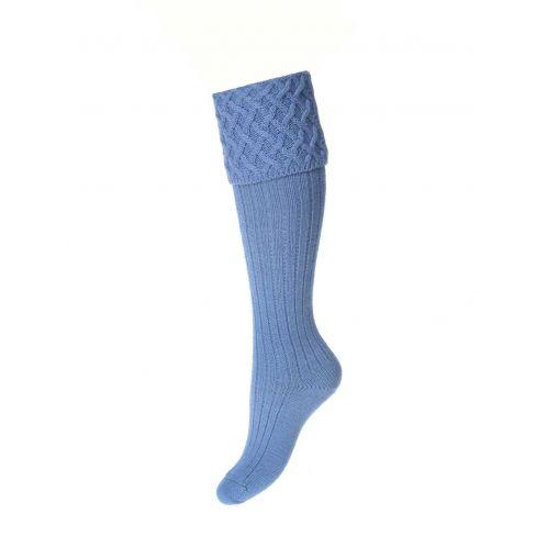 Ladies Lady Rannoch Shooting Socks & Garters - Bluebell