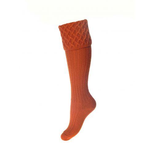 Ladies Lady Rannoch Shooting Socks & Garters - Burnt Orange