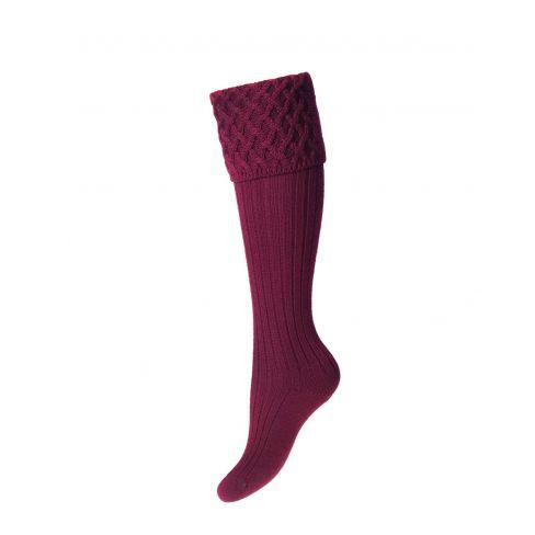Ladies Lady Rannoch Shooting Socks & Garters - Burgundy