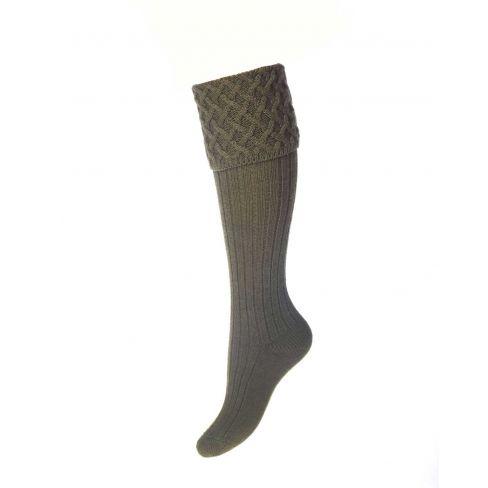Ladies Lady Rannoch Shooting Socks & Garters - Dark Olive