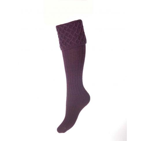 Ladies Lady Rannoch Shooting Socks & Garters - Thistle