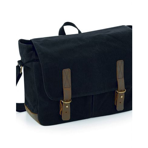 Heritage Waxed Canvas Messenger Bag - Black