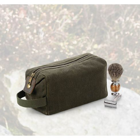 Heritage Waxed Canvas Washbag - Olive