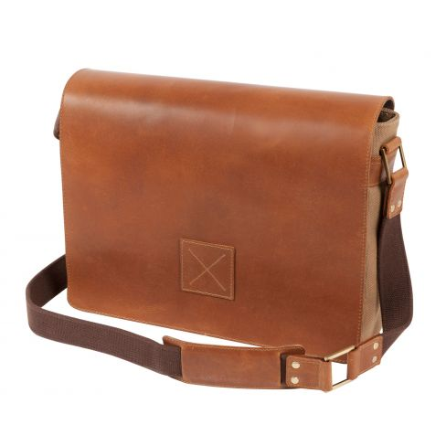 Windsor Leather and Canvas Messenger Bag