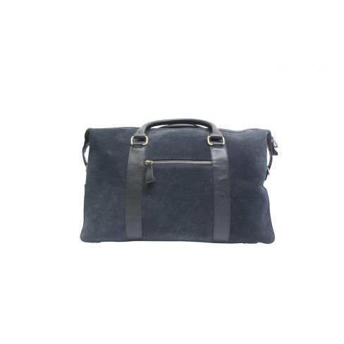 Suede and Leather Holdall Navy
