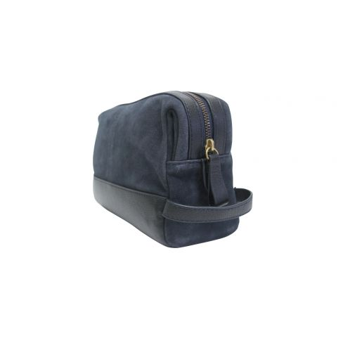 Suede and Leather Washbag Navy