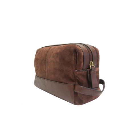 Suede and Leather Washbag Tan