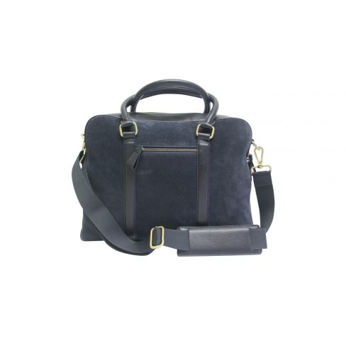 Suede and Leather Laptop Bag Navy