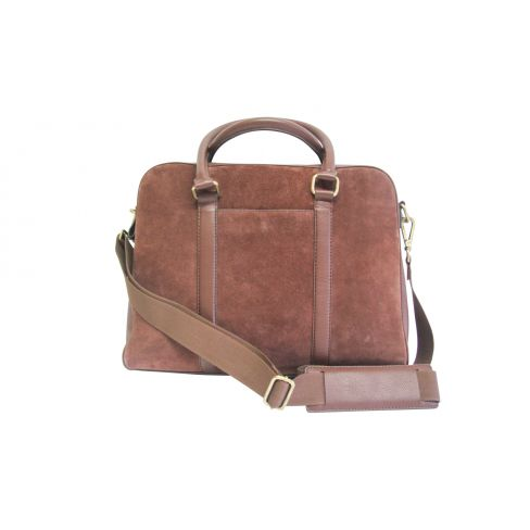 Suede and Leather Laptop Bag Tan