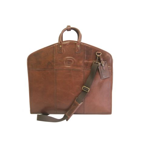 Leather Double Suit Carrier Brown