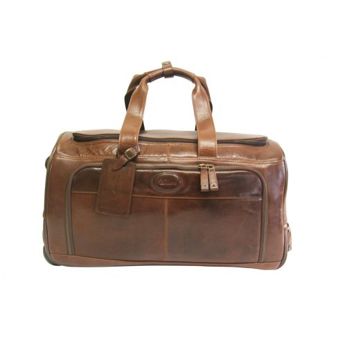 Leather Holdall with Wheels