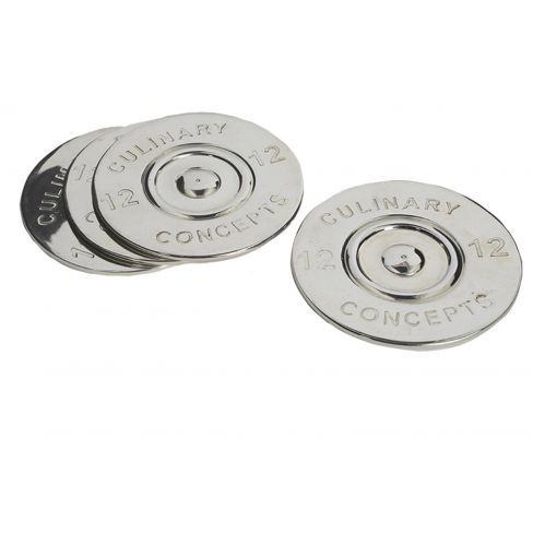 Set of 4 Silver Plated Cartridge Bottle Coasters