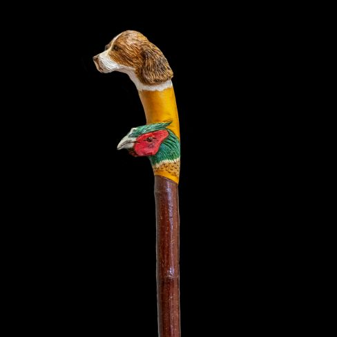 Hand Carved Walking Stick - Spaniel/Pheasant