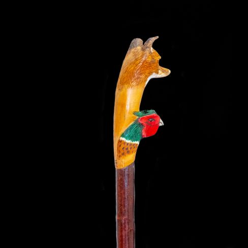 Hand Carved Walking Stick - Fox/Pheasant