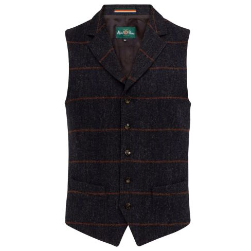 Alan Paine Surrey Tweed Waistcoat - Country Navy