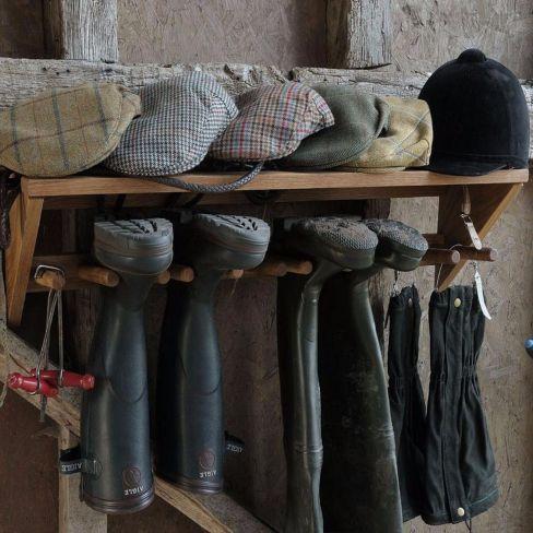 Wall Mounted Oak Boot Rack