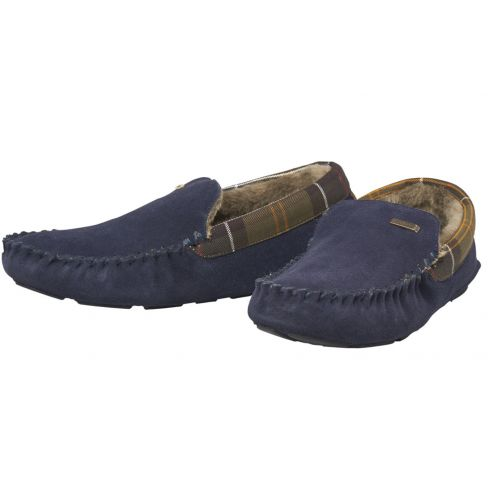 Barbour Monty Navy Suede Slippers
