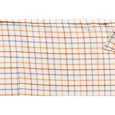 Hoggs of Fife Tattersall Shirt  Brown/Gold/Navy