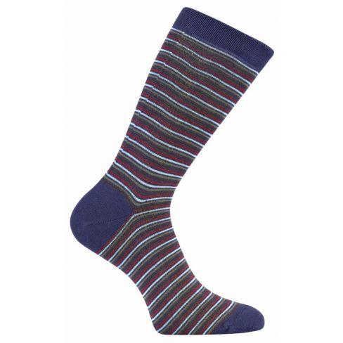 Striped Dress Socks - Navy