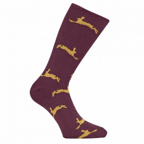 Country Game Dress Socks - Hare - Claret