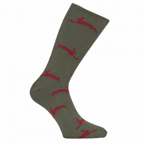 Country Game Dress Socks Hare Olive