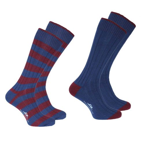 Weekender Pack of 2 Striped and Plain socks - Burgundy/Blue