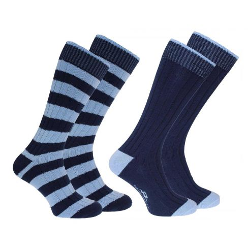 Weekender Pack of 2 Striped and Plain socks - Navy/Blue