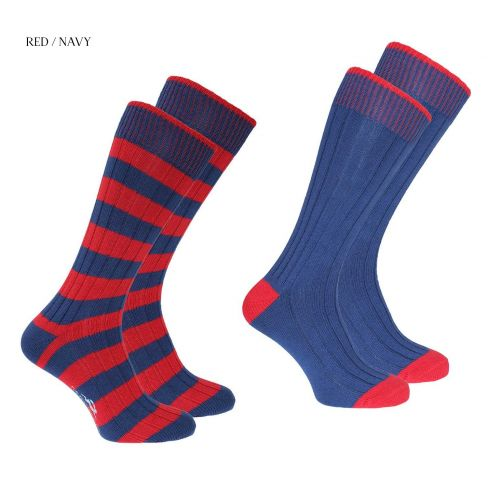 Weekender Pack of 2 Striped and Plain socks - Red/Navy