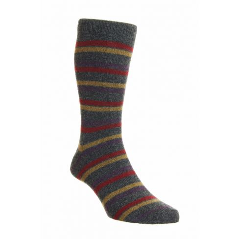 Dress Socks London Stripe Merino Wool Graphite