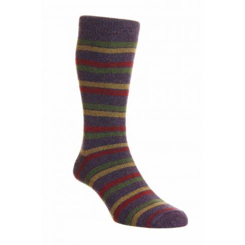 Dress Socks London Stripe Merino Wool Heather