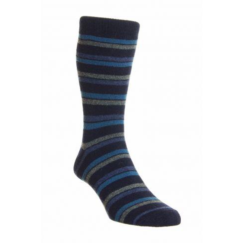 Dress Socks London Stripe Merino Wool Midnight