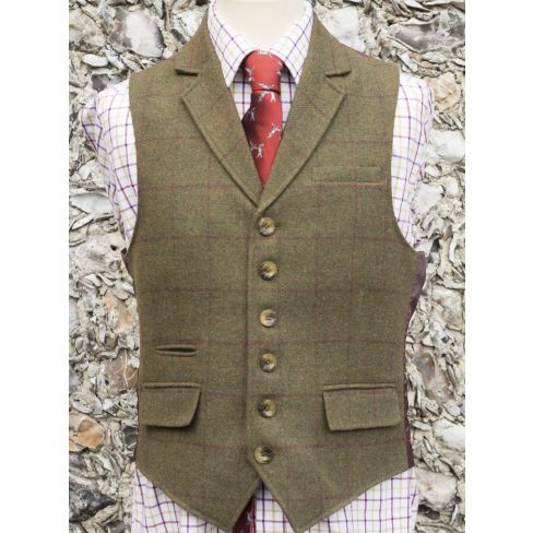 Country Tweed Waistcoats - Green With Burgundy Check