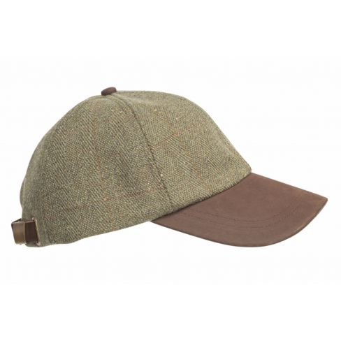 Baseball Cap with Leather Peak Green Tweed