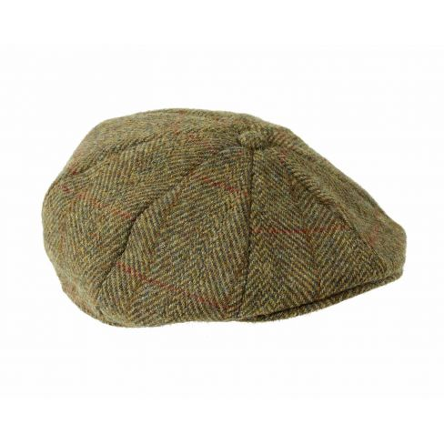 Harris Tweed 8 Piece Cap Olive/Gold