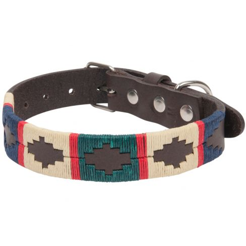 Argentine Leather Dog Collar Green/Red/Navy