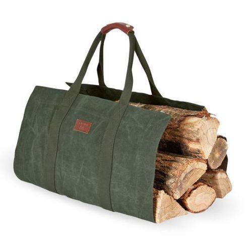 Waxed Canvas Log Bag - Khaki