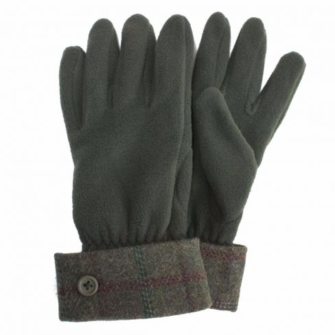 Tweed and Fleece Gloves Forest Green and Wine