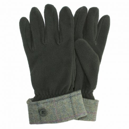 Tweed and Fleece Gloves Pale Green / Lilac