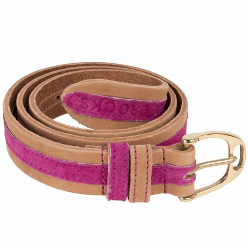 Leather Contrast Belts Pink Suede